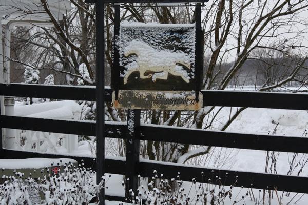 Snow on the Blairwood Farms sign